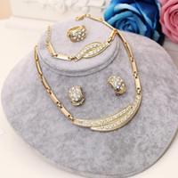 afrikanische perlen halsketten großhandel-2019 New Dubai-Schmuck-Set 4tlg Goldgroße Nigerian Hochzeit Afrikanische Perlen Schmuck Braut Hochzeit Halsketten und Ohrringe für Frauen Set