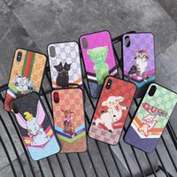 Wholesale animal shell back for sale – best Plaid Animal Print Leather Back Cover Stripe Cat Elephant Bear Holster Phone Shell Pig for iPhone XS Max XR s Samsung S10