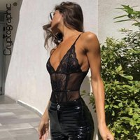 29f9e4373c0 Wholesale sheer black teddy for sale - Cryptographic Black Lace Bodysuit  Sexy V Neck Mesh Sheer