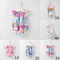 Wholesale baby beach outfits resale online - Summer Beach Outfits Baby Girls Rompers Backless Cake Bandage Bow Elastic Mermaid Arrow Tent Cactus Printed Jumpsuit Toddler Clothing C52