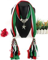 Wholesale colorful star charm resale online - Colorful braid five star Pendant necklace scarves womens shawls novel scarves polyester fashion jewelry scarf