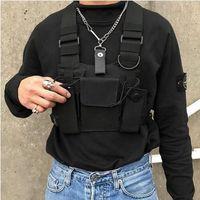 Wholesale suede backpack men resale online - Black Hip Hop Streetwear Military Chest Rig Bag For Men Functional Waist Packs Adjustable Pockets Waistcoat fashion Chest Bags SH190924