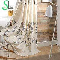 ingrosso tessuto scenico-Lento Anima sci Cotone soggiorno camera da letto tende tessuto ricamato pastorali Scenic tende per Tulle cucina 3D e cinese