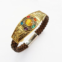 Wholesale women halloween costumes leather for sale – halloween Infinity Stone Gem Charm Leather Bracelets Bangles Men Women The Soul Stone Thanos Bracelets Cosplay Movie Costume Props Jewelry DHL