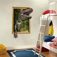 vinilos para sala familiar al por mayor-Decoración única de la habitación del patrón de dinosaurio 3D DIY Family Home Wall Sticker Extraíble Mural Decals Vinyl Art Room Decor