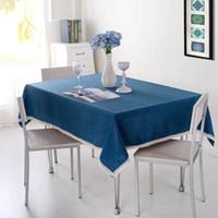 mavi nevresimler toptan satış-Katı Renk Dekoratif Masa Örtüsü ile İmitasyon Keten Masa Örtüsü Dantel Yemek Masa Örtüsü Ev Partisi Dekorasyon