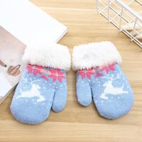 Wholesale kids wool mittens for sale - Group buy Christmas Kids Gloves Cartoon Deer Elk Knitted Mittens Winter Thicken Boy Gloves Outdoor Girls Mitts Xmas Magic plush Mittens LJJA3320