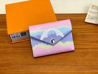 leder-handy-geldbörse armband groihandel-Escale Victorine Wallet Shibori Abbindebatik Umschlag-Art-Frauen Sommer 2020 neue Entwerfer-Geldbörse mit dem orange-Geschenkbox