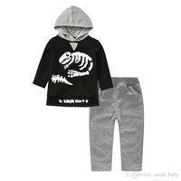 скелетные части оптовых-2018 новая весна осень мальчики костюм детский свитер динозавр скелет шаблон с капюшоном с длинным рукавом из двух частей досуг повседневная Детская одежда