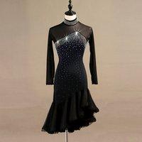 tanzkleid frauen spitze großhandel-lateinischer Tanzwettbewerb Kleider Frauen Samba Rumba Tango Latin Dance Kleid Spitze schwarz lq095