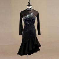 zebra elbiseli kadınlar toptan satış-Latin dans yarışması elbiseler kadın samba rumba tango latin dans elbise dantel siyah lq095
