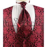lenço ascot venda por atacado-Brugundy masculino e colete paisley preto com decote no pescoço (colete + gravata ascot + abotoaduras + lenço)