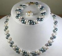 linda pulseira de pérola negra venda por atacado-Lindo! 2Rows7-8MM Black White Pearl Necklace Brincos Pulseira Set