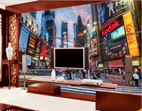Wholesale chinese square art resale online - 3d room wallpaper custom photo mural New York Times Square TV background wall home decor wall art pictures wallpaper for walls d