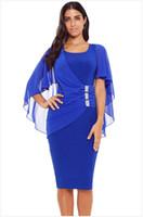 enge kniekleider großhandel-Europäische Zeit Ying weiblichen Sommer und Herbst neuen U-Ausschnitt Gaze Schal engen Rock asymmetrische Knie Kleid