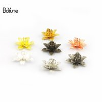 Wholesale metal pieces for jewelry resale online - BoYuTe Pieces Metal Brass Stamping MM Combined Flower Handmade Bead Caps Charms for Hair Jewelry Making
