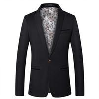 coreano casual blazers para homens venda por atacado-Moda Casual Jaqueta Formal Vestido Dos Homens Terno Definir Homens Cor Sólida Ternos De Casamento Noivo Coreano Slim Fit Vestido Dos Homens Blazers