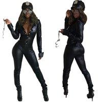traje de pu al por mayor-Conjuntos para mujer Ropa modelos de explosión de cuero Personalidad delgada PU mono de cuero Ropa de mujer Conjuntos de dos piezas 2 unidades