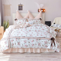 Wholesale full size girl beds online - Egyptian cotton White pastoral floral lace Korean princess bedding set for girls twin queen King size ruffle bed skirt
