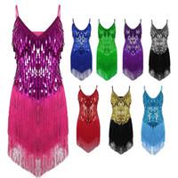 vestidos de competição de dança de salão venda por atacado-Desempenho Mulheres Dança Roupas Salsa Cintas Vestido Com Decote Em V Traje Conjunto de Salão Lantejoulas Franjas Meninas Latin Vestidos