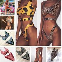 Wholesale black leopard swimwear for sale - Sexy Bikini Swimwear Women Swimsuit Brazilian Bikini Set Green Print Halter Top Beach wear Bathing Suits