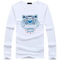 cuello redondo de la chaqueta del hombre al por mayor-Venta al por mayor 22 colores opcional de los hombres de moda de manga larga de algodón chaqueta absorbente del sudor ropa de verano diseñador de cuello redondo Tiger head camiseta