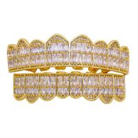 dientes de diamante de cristal al por mayor-Hip hop grillz para hombres, mujeres, diamantes, parrillas dentales 18 k chapado en oro, moda, raperos, oro, plata, cristal, dientes, joyas, envío gratis