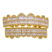 dentes de diamante de cristal venda por atacado-Hip hop grillz para homens mulheres diamantes grades dentais 18 k banhado a ouro moda legal rappers ouro dentes de cristal de prata jóias frete grátis