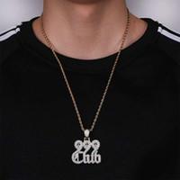 Wholesale 999 singapore gold resale online - hip hop club diamonds pendant necklaces for men luxury number letters pendants real gold plated copper zircons cuban chain necklace gift