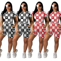 Wholesale clothing above for sale - Group buy FIL Brand Women Two Piece Shorts Sets Designer Tracksuits Plaid T Shirt Biker Shorts Set Sportswear Street Outfits Clothes Suit C61701