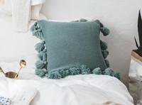 almofadas de malha venda por atacado-Borla De Malha Capa de Almofada de Luxo Decorativo Fronhas para Decoração de Casamento Sofá Fronha Cadeira de Travesseiro Capa