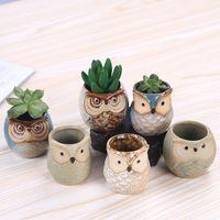 yeni saksılar toptan satış-Yeni Karikatür Baykuş şeklindeki Saksı Succulents Etli Bitkiler Saksı Seramik Küçük Mini Ev / Bahçe / Ofis Dekorasyon 046