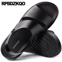 ingrosso sandali in cotone marrone-Open Toe Casual Large Size 46 italiani impermeabili sandali da uomo in pelle estate cinturino nero marrone moda scarpe piatte stilista
