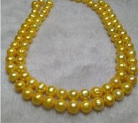 Wholesale gold natural south sea pearls resale online - 32 quot MM NATURAL SOUTH SEA GENUINE GOLDEN PEARL NECKLACE K GOLD CLASP