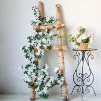 yapay yeşillik çiçeği toptan satış-5.6FT 1.7m Çiçek Dize Yapay Kiraz Çiçeği Vine Garland Bitkiler Ev Firar Çiçek Sahte Çiçek Duvar Asma için Foliage