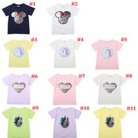 Wholesale baby girl tee pattern resale online - Summer newborn baby girl and boy clothes Heart Pattern T Shirts Reversible Sequins Letter Kids Fashion Funny Tees Baby Cotton TopsAA19134