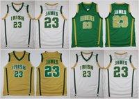 basketbol forması james toptan satış-En Kaliteli St. Vincent Mary Lisesi İrlanda 23 LeBron James Formalar Yeşil Beyaz LeBron James Basketbol Formalar Dikişli Kolej Gömlek