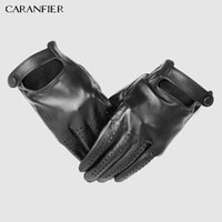 CARANFIER Mens Genuine Leather Gloves Male Breathable Goatskin Thin Spring Summer Autumn Driving Anti-skid Mittens Men Gloves