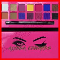 ingrosso spazzola di palette di trucco-Trucco per occhi Alyssa Edwards Rose Palette per ombretti rossi 14 colori Matte Palette per ombretti pressati con pennelli per trucco di epacket