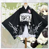 ingrosso le prestazioni dei vestiti-Abito da donna in stile giapponese Kimono elegante con stampa floreale sul palcoscenico Costume da esibizione vintage originale Vestito da Yukata Cosplay