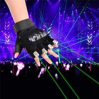 luz de baile láser verde al por mayor-Guantes láser rojo verde Dancing Stage Show Stage Gloves Light con 4 piezas de láser y luz de palma LED para DJ Club / Party / Bars