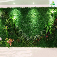 Wholesale fake fence plants for sale - Group buy Artificial Plastic Boxwood Mat cm Synthetic Hedges Fake Foliage Grass Mat For Home Garden Fence Decorations Supplies EEA698