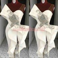 arabische designer abendkleider großhandel-Neue Designer Satin Abendkleider mit Perlen Ruffle Hüllen-Kurzschluss-Partei-Abschlussball-Kleid Arabisch Ärmel Plus Size Robe De Soiree Guest Wear