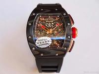 ingrosso migliore orologio automatico del cronografo-KvFactory v2 migliore qualità in fibra di carbonio rm-011 eta.7750 cronografo movimento automatico 45mm uomini orologio cinturino in silicone sport mens orologi watc