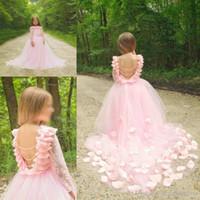 uzun ufak tefek elbiseler toptan satış-Backless Sıcak Genç Kız Yarışması Gowns Dantel Uzun Kollu Tül Prenses Balo Parti Elbise Pembe Çiçek Kız Wedding684545 İçin Elbiseler