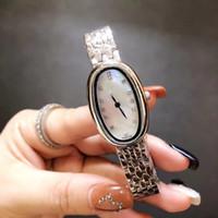 pérolas relógios mulheres venda por atacado-Luxo Quartz Movimento Symphonette Diamante Caso LG Assista Mulheres Branco / Preto Pérola Dial 316 Banda Inoxidável Feminino Relógio Montre Hommeury
