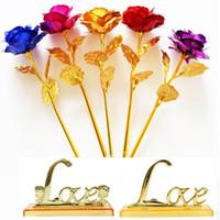 rosas de oro para el día de san valentín al por mayor-24 k oro sumergido rosas Artificial tallo largo chapado en oro rosa banquete de boda proponer decoración Flor Navidad Día de la Madre de San Valentín regalo