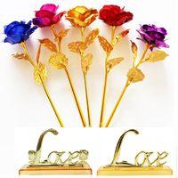 ingrosso decorazioni di fiori artificiali di valentines-24k oro immerso rose lungo gambo artificiale placcato oro rosa festa di nozze propongono decorazione fiore di san valentino di Natale regalo festa della mamma