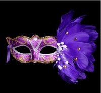 2019 New plastic with feather 6 colors women's elegant masquerade party masks Venice coloured drawing or pattern feather mask women