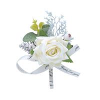 korsaj erkek takım elbise toptan satış-2019 Rustik Broş Damat Groomsmen Parti Balo Corsages için Yelek Takım Elbise düğün takım elbise erkekler düğün takım elbise damatlar erkekler için Gül Çiçekler